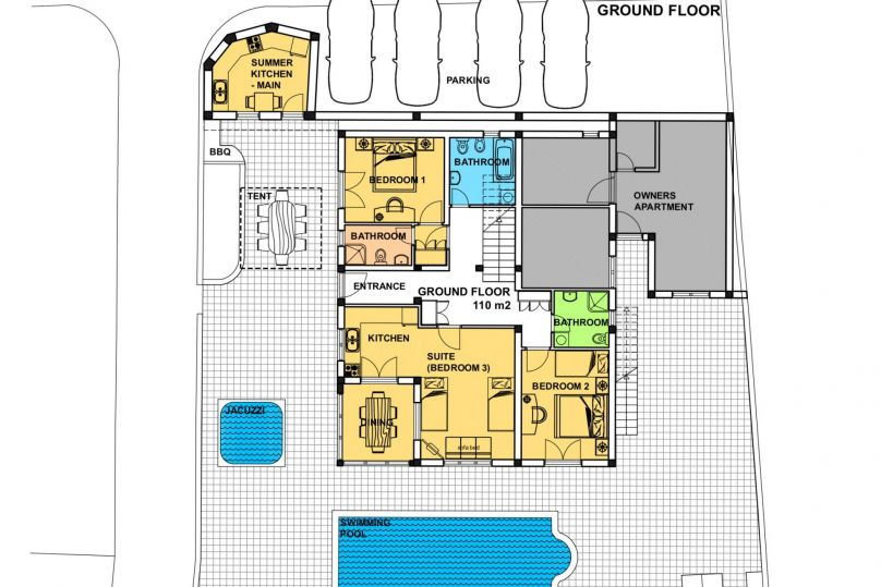 120 M2   Ground Floor   Rooms: 2, Bathrooms: 3, Matrimonial Bed: 2, Persons  On Main Beds: 6, Persons On Adjustments Beds: 4