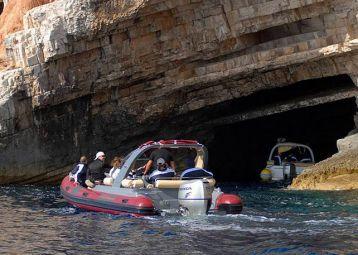 Exploring the Blue and Green Caves, Vis Island, Komiža